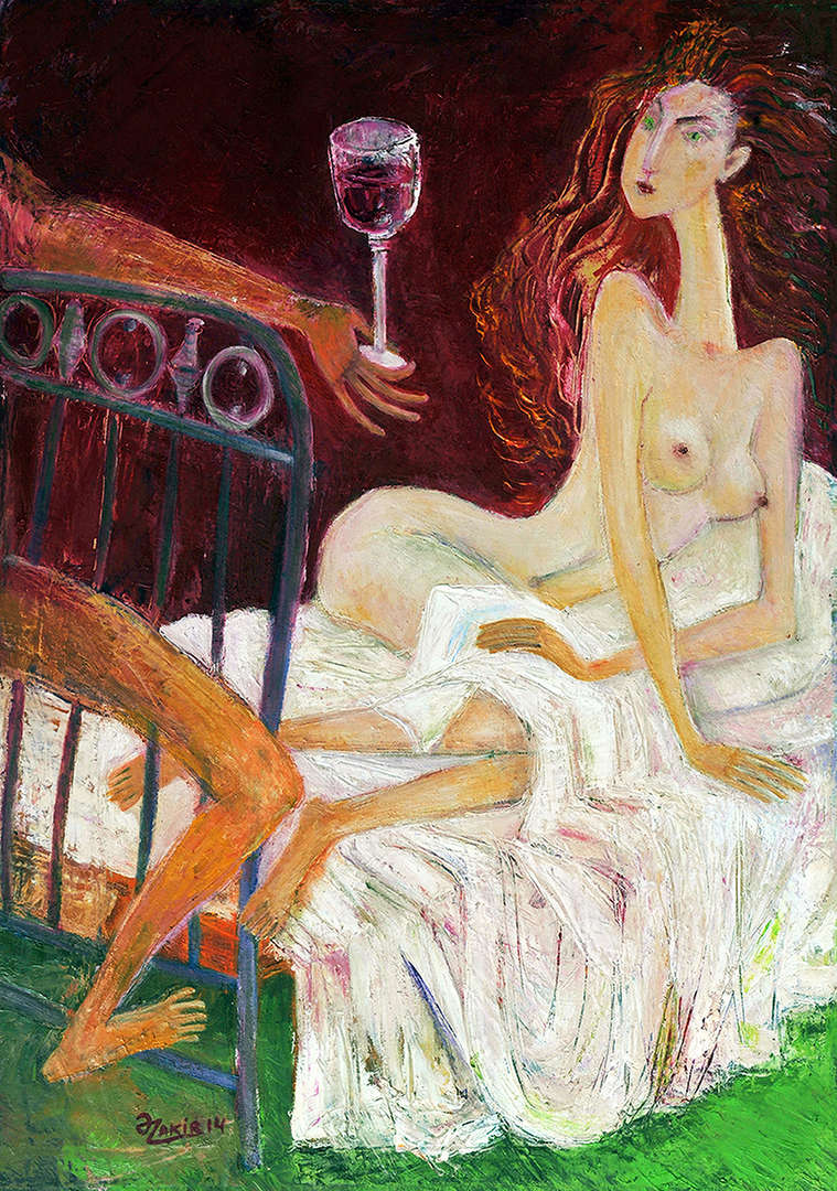 AHMEDOV Z. A. .IN BED  .IN BED 2013year oil on canvas 50x70 cm4000$