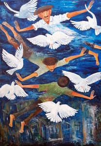 AHMEDOV Z.A. DOVES OF OUR STREET   DOVES OF OUR STREET 2019year 95x65cmOriginal Painting Oil on Canvas. 8500$